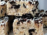 No-Bake Chocolate- and Vanilla-Drizzled Oreo 'Rice Krispie' Treat Bars