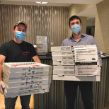 Kosher19 Delivers Pizza Lunch To Care One at Teaneck