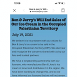 Ben & Jerry's Capitulates to BDS: Will End Ice Cream Sales in 'Occupied Palestinian Territory'
